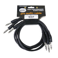 UXL PSJ1M 1M Stereo 6.35mm Patch Lead - 3pack