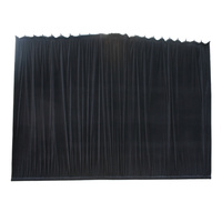 BravoPro 64ABK 6M x 4M Black Cotton Velvet Curtain - Gathered