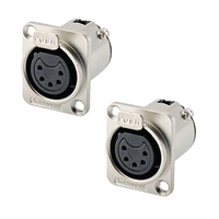 Amphenol AC5FDZ 5-pin Female XLR-D Panel Mount Connectors x2
