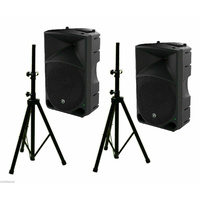 Mackie Thump15 15-inch 1000W Powered Speakers x2 and BravoPro Speaker Stands x2