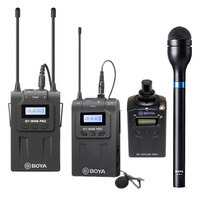 Boya WM8 PRO UHF Wireless System with Plug-On & Beltpack Transmitters and Reporters Mic.