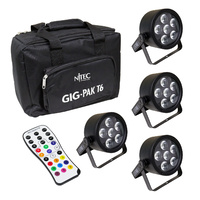 Nitec Tri-6 pack, 4 x RGB Tri-color 6  LED Pars with carry bag & Infrared remote control