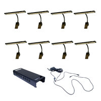 RATstands Apollo LED Clip-On Light x8 with 1 x DMX Power Supply and Cable Set